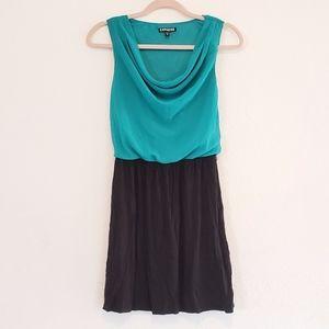 EXPRESS Teal Black Scoop Neck Sleeveless Dress